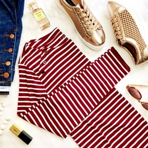 Burgundy Striped Button Detail Long Sleeve Top